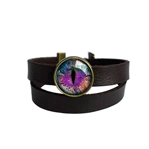 n EyeKeychain Round Pendant Leather Bracelets Glass Cabochon Key Rings Stainless Steel Metal Handmade Charm Bangle Bracelet ()