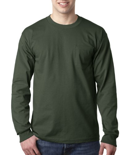 Adult Long-Sleeve Cotton Tee with Pocket (Forest Green) (2X-Large) ()