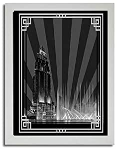 Address Hotel Down Town- Black And White With Silver Border No Text F03-nm (a2) - Framed