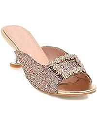086fb56637d6e Women s Rhinestone Flowers Sparkle Glitter Heels Slides Sandals Bling Slip  on Dress Mules Clogs Pumps Shoes