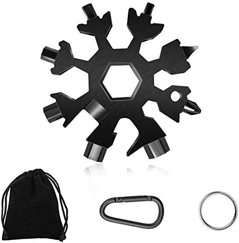 19-in-1 Snowflake Multi-Tool,Stainless Steel Snowflake Standard Multitool,Compact Portable Snowboarding Screwdriver with Key Ring for Bottle Opener/Outdoor Camping/Keychain, Great Christmas (Black)