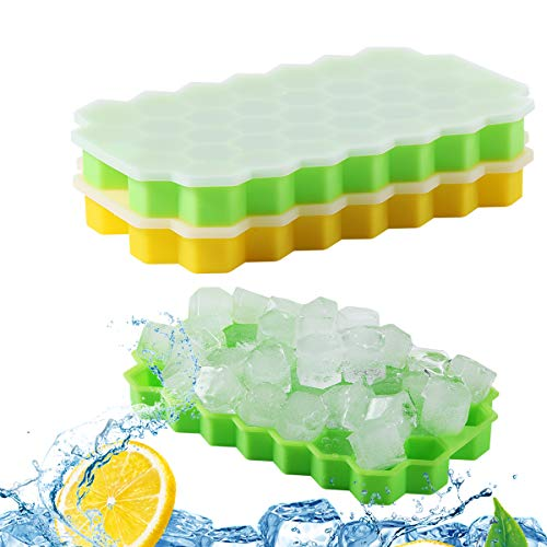 Ice Cube Trays, C-TOP Ice Cubes Maker Mold with Spill-Resistant Removable Lid 2 Packs 74 Cubes, BPA Free Ice Cube Moldsfor Family, Party, Bars, Chilling Bourbon Whiskey, Cocktail, and Beverages