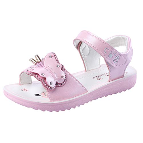 My Heat Baby Girls Flower Butterfly Floral Sandals,Princess Flat Shoes Toddler Kids Summer Non-Slip Sandals Pink