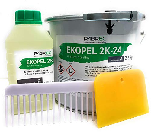 (Ekopel 2K Bathtub Refinishing Kit - Odorless DIY Sink And Tub Reglazing Kit - 20X Thicker Than Other Tub Refinishing Kits- No Peel Pour On Tub Coating - Bright Gloss Tub Coating (White))
