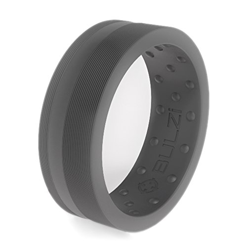 BULZi - Massaging Comfort Fit Silicone Wedding Ring - #1 Most Comfortable Men's and Women's Wedding Band - Flat Edges with Flexible Work Safety Design (Grey Zi2, Size 10 - (8mm Width Band))