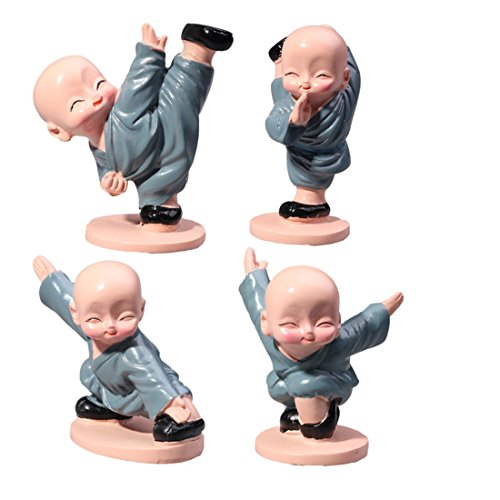 ZJCilected Set of 4 Chinese Kungfu Monk Lovely Doll Car Decoration Desktop Resin Furnishing Articles