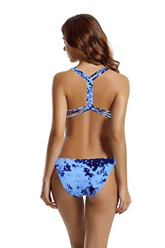 costume alto Print pezzi 2 Zeraca donna costumi Blue collo Bikini da Set costumi bagno wvIwq1O