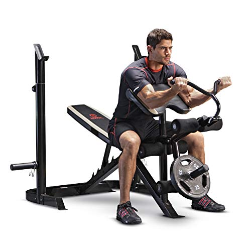 Marcy Adjustable Olympic Weight Bench with Leg Developer and Squat Rack MD-879