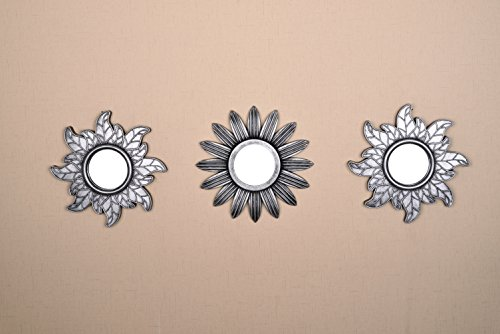 Decorative Accent Pieces - All American Collection New Seperated 3 Piece Decorative Mirror Set, Wall Accent Display (Silver Flower and Sun)