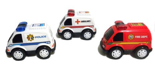 Set of 3 Rescue Vehicles Toy Cars Friction Powered Police Ambulance Fire Dept.