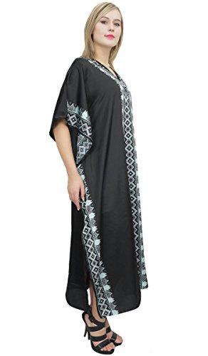 Caftan Satin Imprimé Frontière Femmes Bimba Parti Coverup Longue Robe Caftan Noir