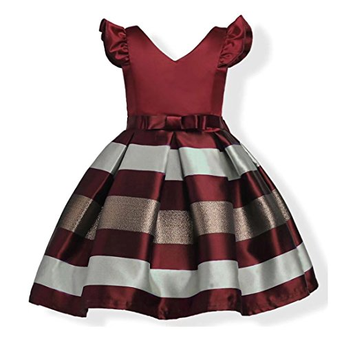Oukaiyi Litter Big Girl Dress Princess Gowns Party Wedding Dresses(Burgundy,9-10Y) (Big Women Prom Dresses)
