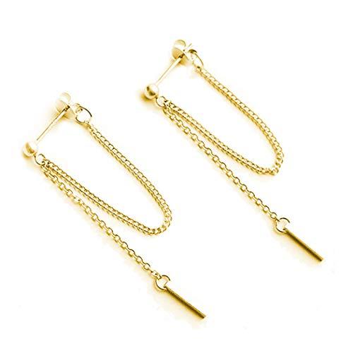 SLUYNZ 925 Sterling Silver Bar Dangle Earrings for Women Teen Girls Threader Earrings Chain (Color 2) ()