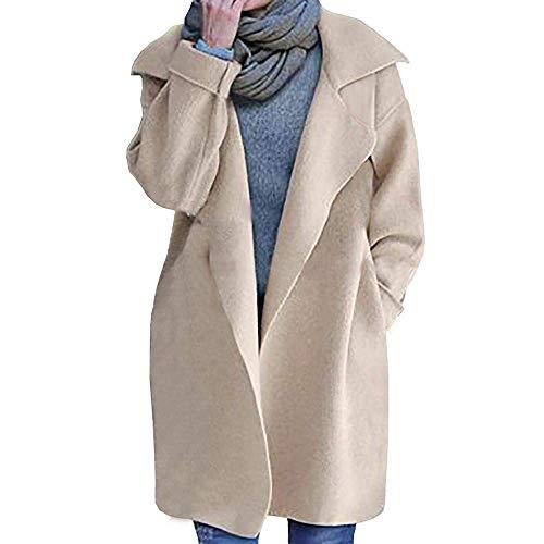 Forti Laterali Giovane Lunga Taglie Outerwear Larghezza Cardigan Tasche Lunga Moda Manica Bavero Casual Beige Elegante Donna Semplicemente Invernali Giaccone Cappotto nTBq4Pzq