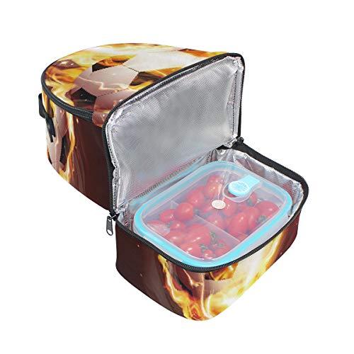 Soccer Ball Fire Pincnic Flame lunch isotherme l'école Tote pour Sac à bandoulière Cooler à Boîte avec réglable Folpply qtESwq