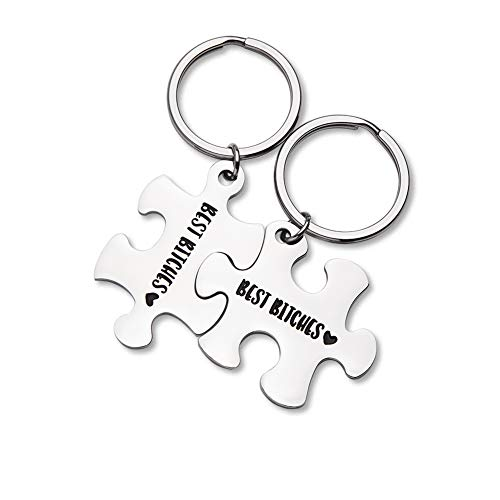 Best Friend Keychain Gifts Best Bitches 2 pieces keychain Couple Keychain Set Personalized Friendship Gifts Puzzle Key Ring Jewelry for Her BFF Sisters Bestie Gifts
