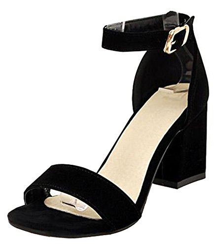 Shoes Suede Womens Easemax Toe Open Sandals Chunky Heels Dressy Faux Black Mid vZZwd8q
