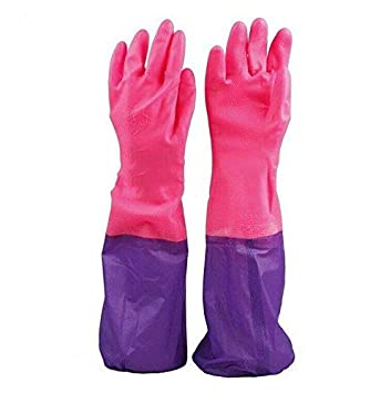Inditradition PVC Kitchen Hand Gloves, Cleaning Gloves   Reusable, Free Size, Forearm Length, 1 Pair (Pink/Purple Color)