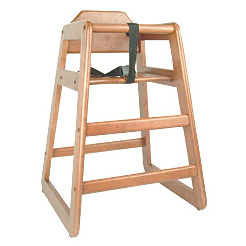 TigerChef Wood High Chairs in Natural Finish with Safety Harness On Both Sides and A Wide Stance to Avoid Tipping Over Dimensions: 28-1/10