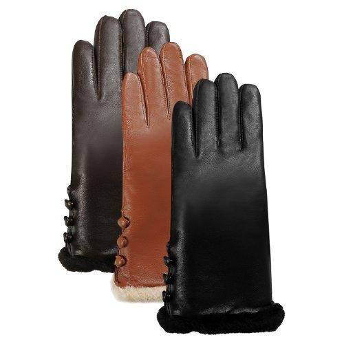 Luxury Lane Women's Shearling Fur Trim Cashmere Lined Lambskin Leather Gloves - Tobacco L