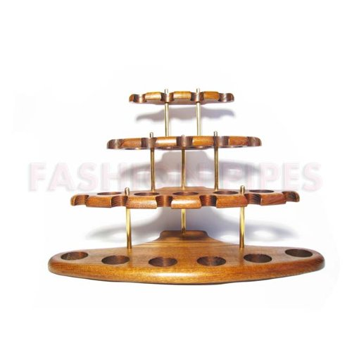 New Wooden Pipe Stand Rack Holder for 15 Tobacco Pipes. Handcrafted (15)