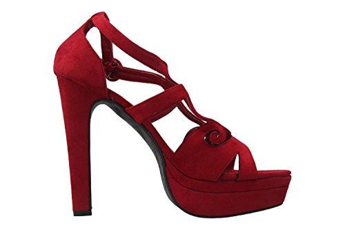 Andres Machado Damen Sandaletten - Rot Schuhe in Übergrößen