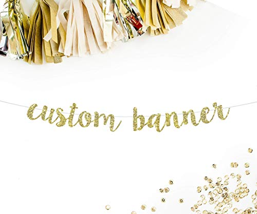 Custom Party Banner in Gold Cursive Letters || personalized birthday baby shower anniversary wedding bridal shower baby announcement gender reveal retirement sweet -