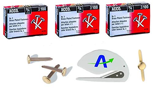 ACCO #3 Brass Plated Paper Fastener, 3/4 inch Capacity with 5/16 inch Head, 300 Pack with Bonus AdvantageOP Letter Opener