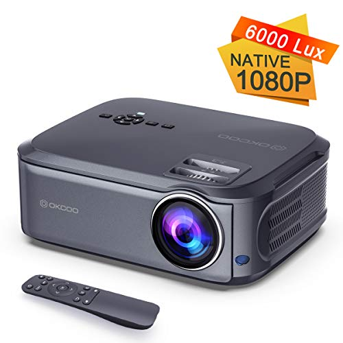 Video Projector 1080P Full HD Projector Movie Display Home Theater Business Office Overhead Powerpoint Projector for Presentation Compatible with PC, Laptop, TV Stick, PS4 10 Years Service Life Grey