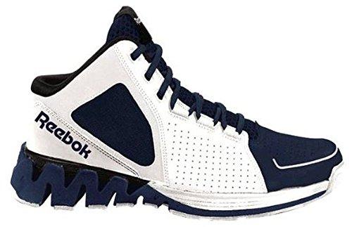Mænds Reebok Zigkick Hoops Basketball Sko Zig Eneste Midten Hvid Flåde Blå Og Sort a0q69A