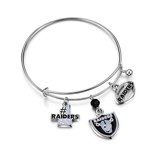 (NFL Oakland Raiders Three Charm Logo Bracelet)
