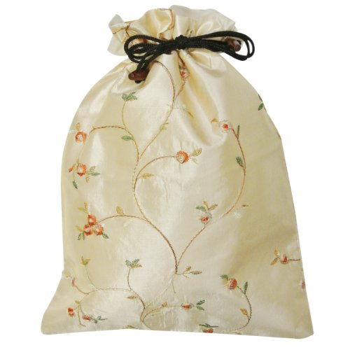 41bnkRRNcgL - Wrapables Beautiful Embroidered Silk Travel Bag for Lingerie and Shoes, Beige