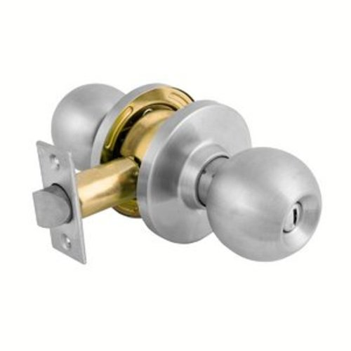 - Master Lock Commercial Cylindrical Privacy Ball Knob Lockset,BLC0332D34ULP Brushed Chrome