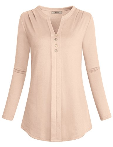 Miusey Petite Tops Women, Ladies Long Sleeve Henley Tunic V Neck Flowy Flattering Designer Drape Slim Fit Shirt Dressy Misses Blouses Simple Business Casual Clothing Fall With Curved Hem Beige M