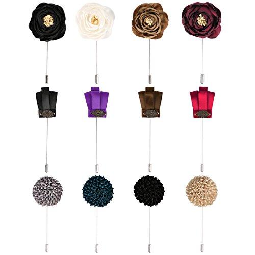kilofly Men's Flower Lapel Pin Wedding Suit Boutonniere Stick, Set of 12 (Lapel Suit Set Pin)