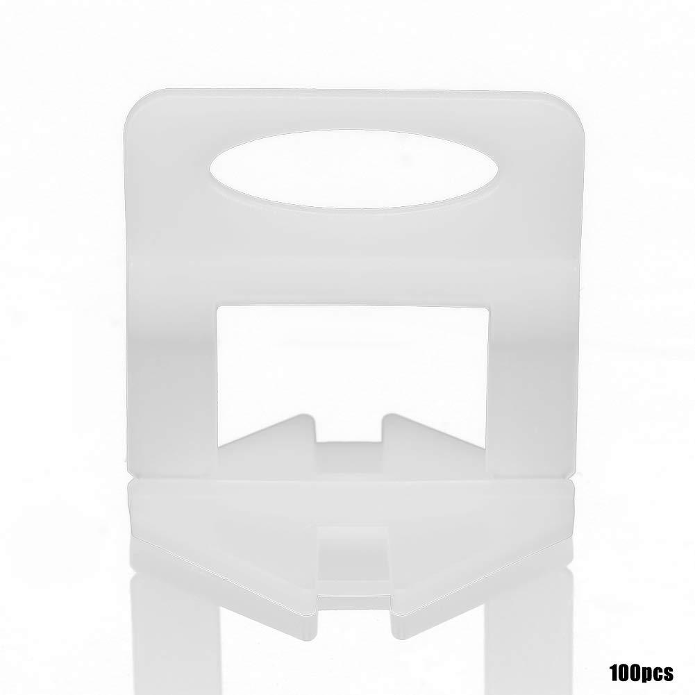 Akozon Tile Clip de nivelación 100 unids/set Separadores de Nivelación de Azulejos Clips Suelos Tiling Tool Para Sistema de Nivelación de Piso(D09): ...
