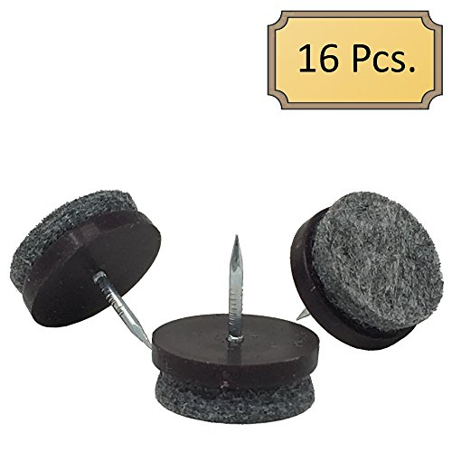 D.H.S. 7/8' Dia. Heavy Duty Felt Nail-on Slider Glide Pads for Chairs, Stools, & Tables - Furniture Slides Like Magic -Tile & Hard Wood Floor Protector - Espresso - 16 pcs.