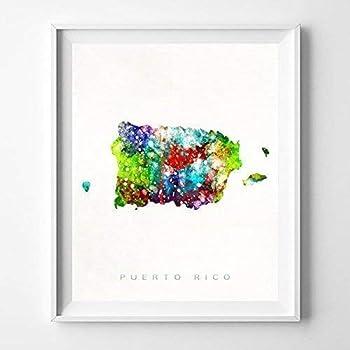 Puerto Rico Watercolor Map Wall Art Poster Home Decor Print Watercolour Artwork - Unframed