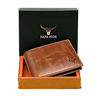 Napa Hide RFID Protected Genuine High Quality Leather Wallet for Men (Brown)