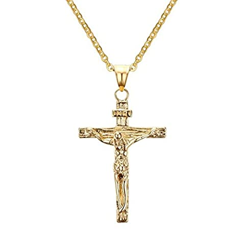 Bishilin Mens Womens Stainless Steel Jesus Crucifix Cross Pendant Necklace Christian Gold 3.2x5.1CM (Gold Cross Necklace 20 Inch)
