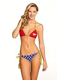 DC Comics Wonder Woman Lattice Triangle and Tassel Womens Bikini Set