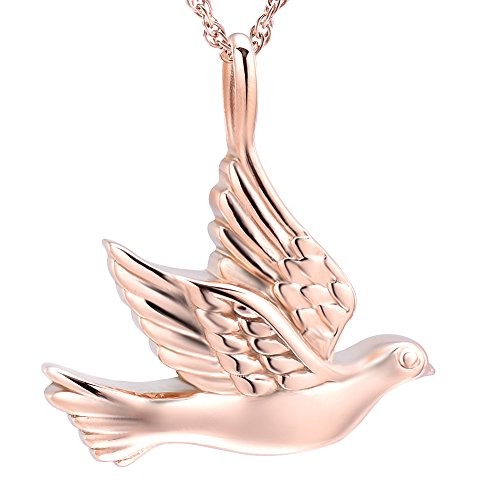 (Peace Dove Urn Necklace Stainless Steel Pet Cremation Pendant Necklace Memory Ashes Keepsake Jewelry (Rose Gold) )