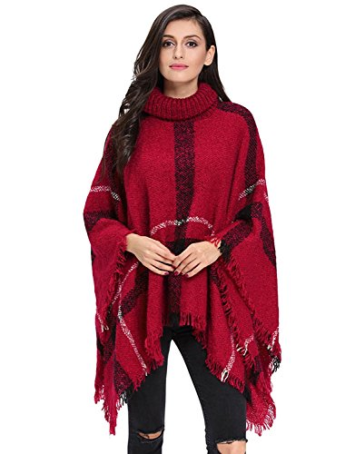 Collar Cotton Women Poncho - HITOP Women's Plaid High Collar Knitted Sweater Poncho (Red)
