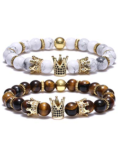 BOMAIL 8mm Crown King Charm Bracelet for Men Women Black Matte Onyx Natural Stone Beads Couple -