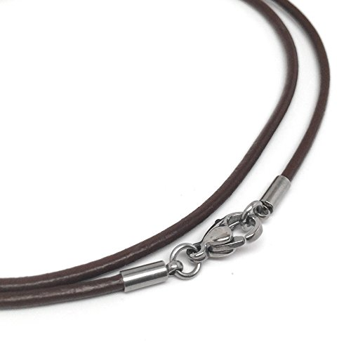 Brown Leather Necklace Cord (2mm) with Stainless Steel Clasps (18 Inches) 18in Brown Leather