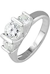 Sterling Silver Triple Cubic Zirconia Ring