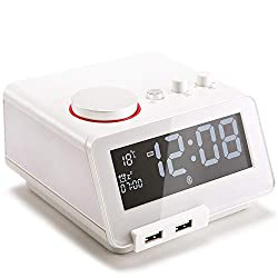Homtime Multi-Functional Alarm Clock Radio and Bluetooth Speaker with Dual USB Charger Dimmable LCD Screen Thermometer Personalized Alarm Ring for Bedrooms (White)