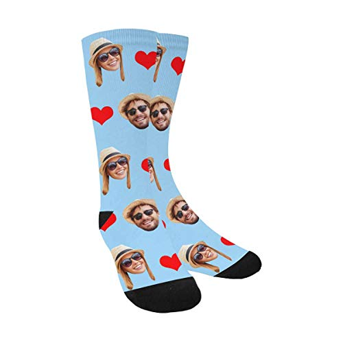 Custom Personalized Printed Photo Socks with 2 Faces, Turn Your Picture Face into Red Heart Sky Blue Crew Socks Unisex