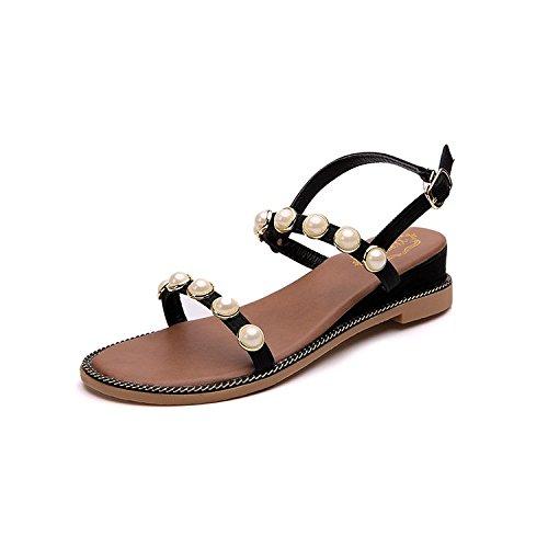 e scarpe scarpe roma belle muffin studente spiaggia fondo spesso le da con black estate pendio da ZHANGJIA scarpe donna pearl donne 17wz1x