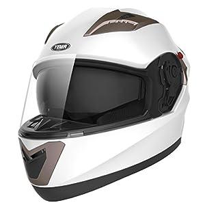 Motorcycle Full Face Helmet DOT Approved - YEMA YM-829 Motorbike Moped Street Bike Racing Crash Helmet with Sun Visor for Adult, Men and Women - White,XL